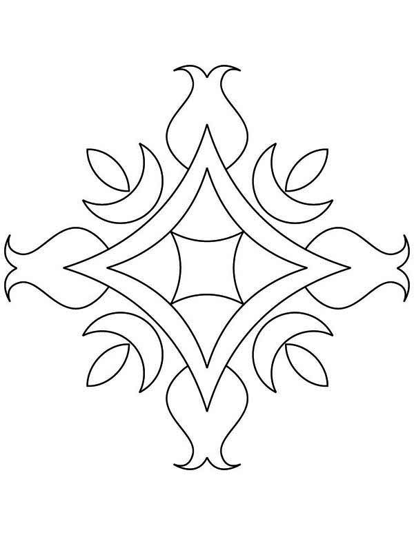 Floral design rangoli coloring page netart for Rangoli coloring pages