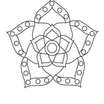 Flower Blossom Rangoli Design Coloring Page