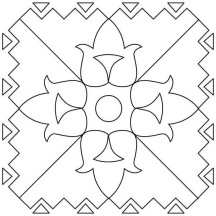 Flower Pattern Rangoli Coloring Page