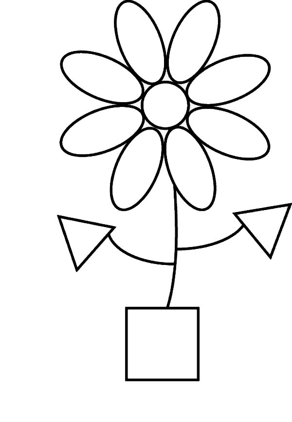 Flower Shapes Coloring Page - NetArt