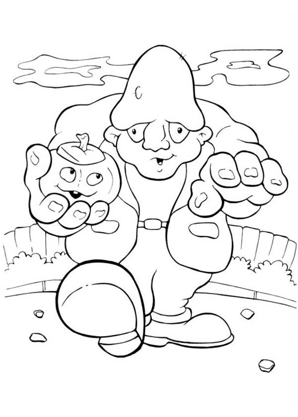 Frankenstein with Pumpkin on His Hand in Funschool Halloween Coloring Page