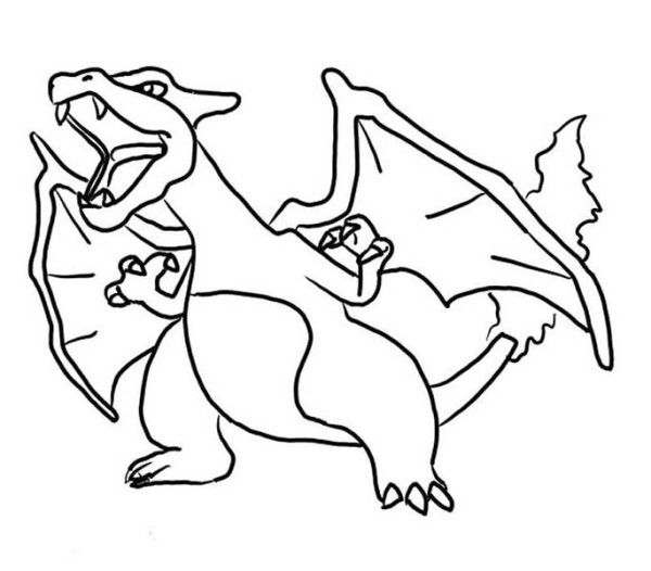 Furious Charizard Coloring Page
