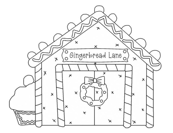 Gingerbread House And Cupcake Coloring Page
