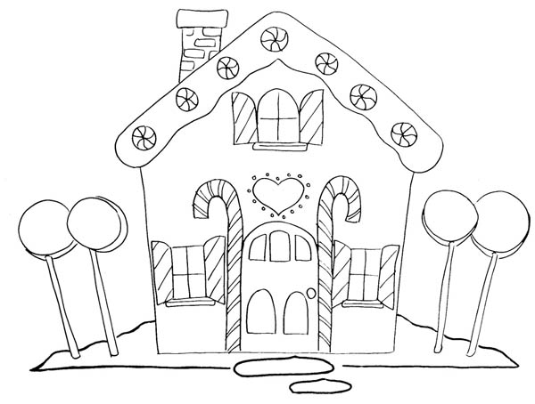 Gingerbread House And Four Big Lollipop Coloring Page