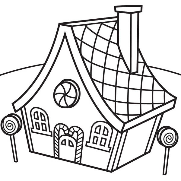 Gingerbread House and Lollipop Coloring Page NetArt