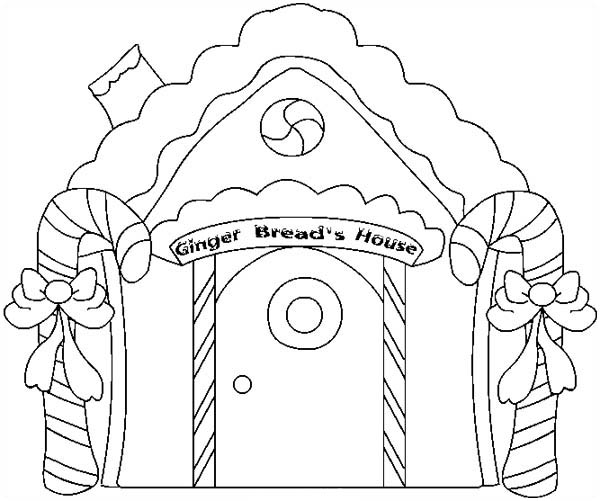 Gingerbread House and Two Candy Cane Coloring Page