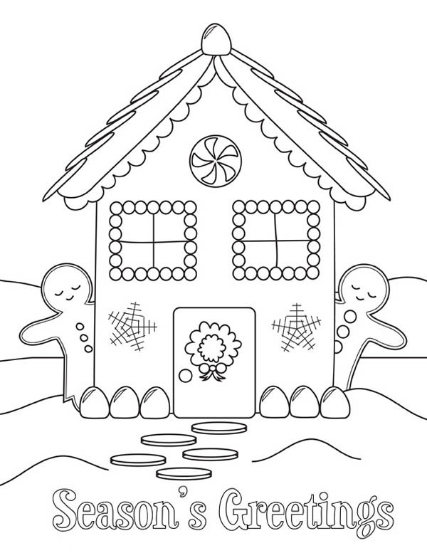 Gingerbread House and Two Gingerbread Man Coloring Page - NetArt