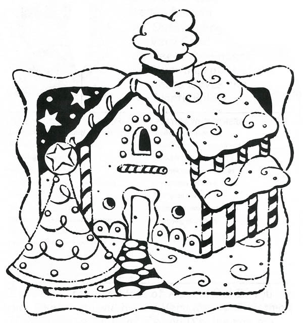 Gingerbread House on Christmas Card Coloring Page - NetArt