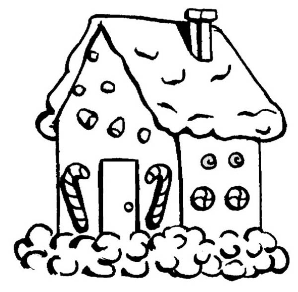 Gingerbread House with Candy Cane in Front Coloring Page - NetArt