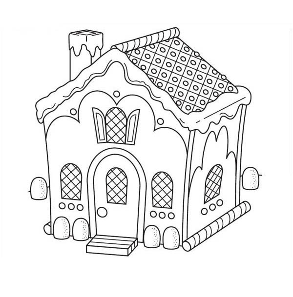 Gingerbread house with chimney coloring page netart for Gingerbread house coloring pages