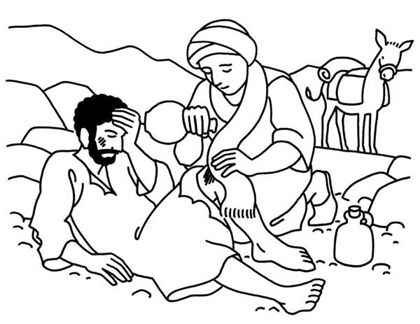 good samaritan aid travellers wound coloring page - Good Samaritan Coloring Pages