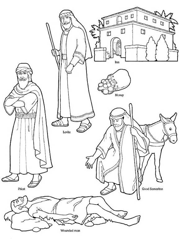good samaritan character in the bible coloring page - Good Samaritan Coloring Pages