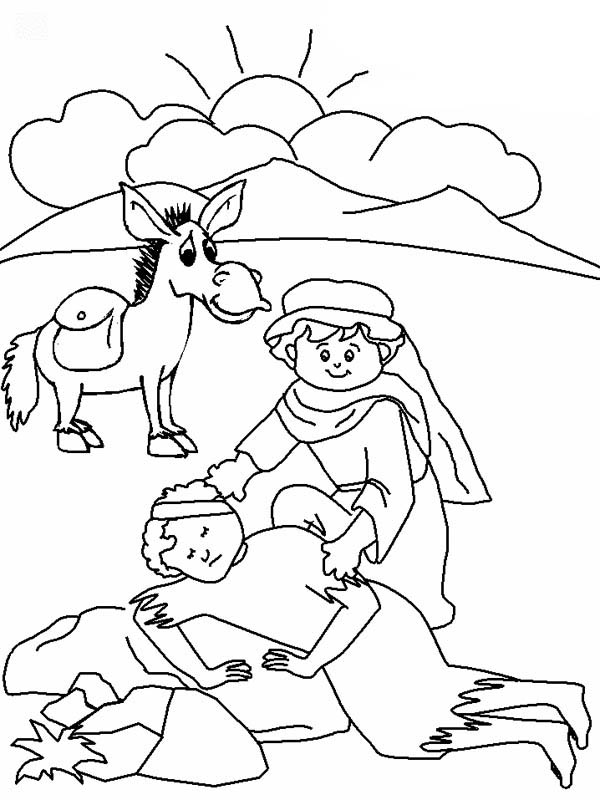 good samaritan drawing coloring page - Good Samaritan Coloring Pages