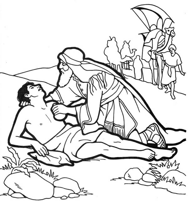 good samaritan help half dead traveller coloring page - Good Samaritan Coloring Pages