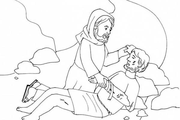 good samaritan helping coloring page - Good Samaritan Coloring Pages