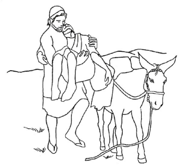 good samaritan put injured a traveller on donkey coloring page - Good Samaritan Coloring Pages