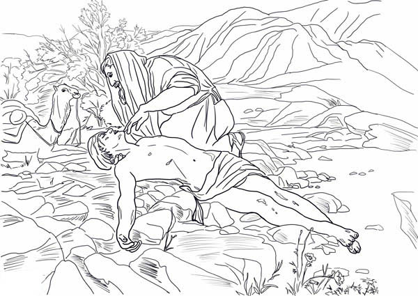 Good Samaritan Rescue a Half Dead Traveller Coloring Page
