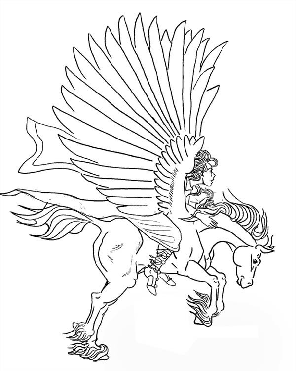 greek knight ride pegasus coloring page