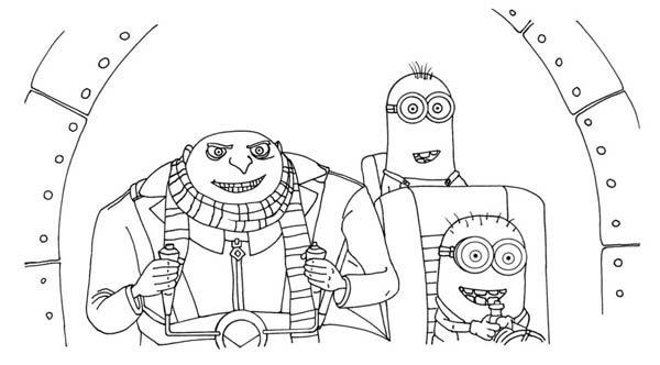 gru and minions on the plane in despicable me coloring page - Despicable Me Coloring Pages