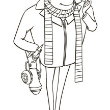 Gru with Shrink Ray Gun in Despicable Me Coloring Page