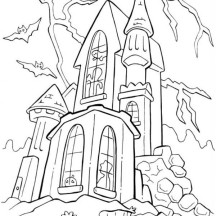 Haunted Castle in Funschool Halloween Coloring Page