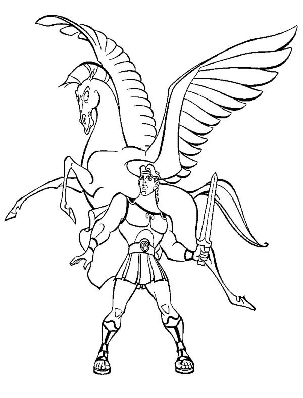 hercules and pegasus coloring page
