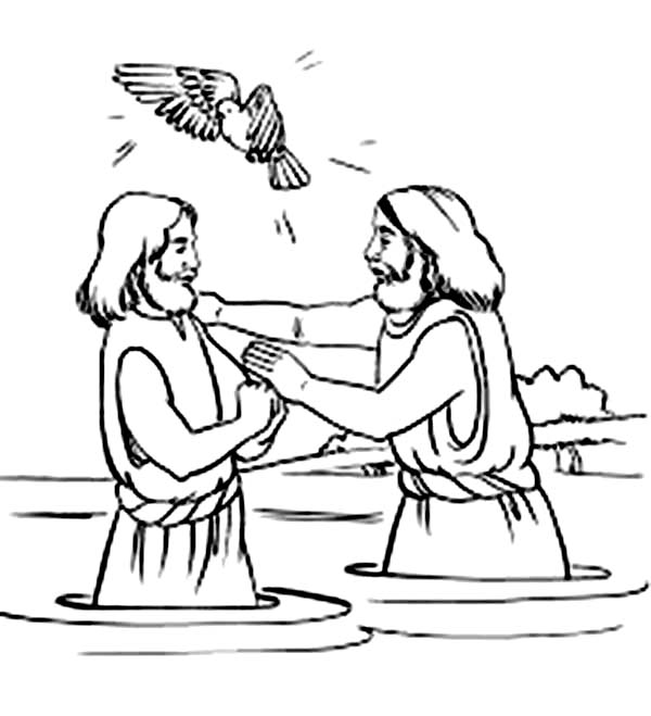 Holy Spirit Blessing Jesus Baptism in John the Baptist Coloring