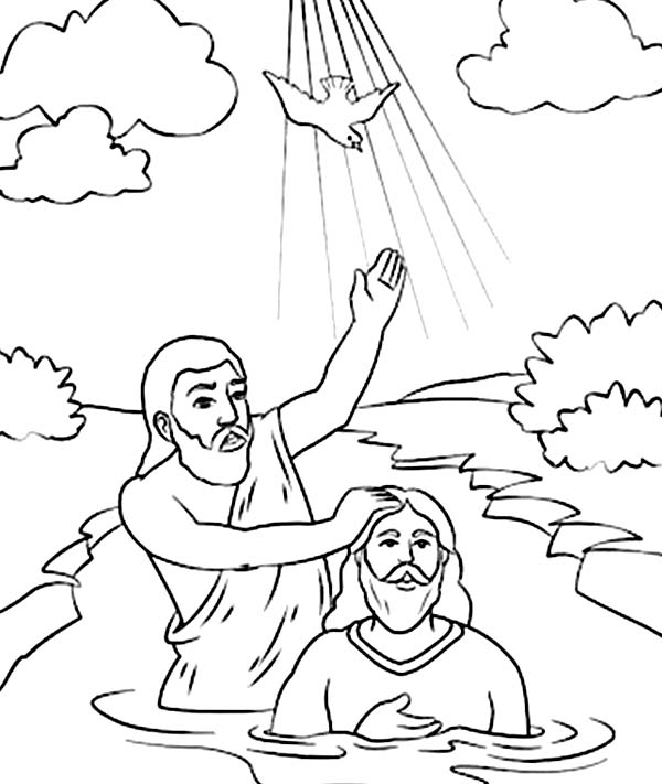 Holy Spirit Came Down in John the Baptist Coloring Page