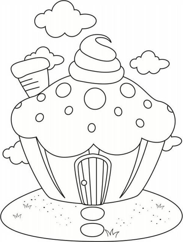 house of cupcake coloring page