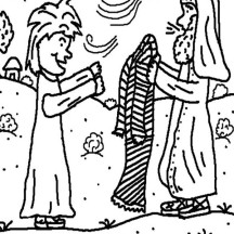 Isaac Give Jacob His Coat in Jacob and Esau Coloring Page