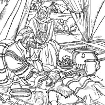 Jacob Ask for Isaac Blessing in Jacob and Esau Coloring Page