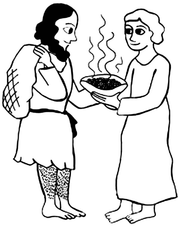 jacob give esau a bowl of stew coloring page