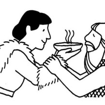 Jacob Offered Esau a Bowl of Stew in Jacob and Esau Coloring Page