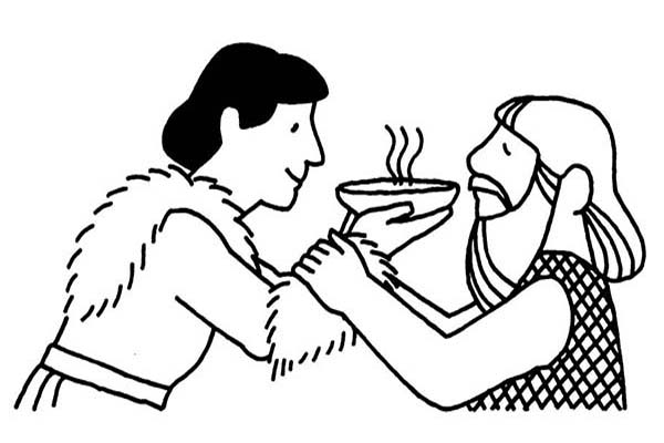 Jacob Offered Esau A Bowl Of Stew In And Coloring Page