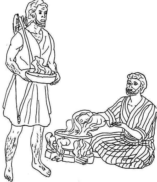 Jacob Want Esau Trade His Birth Right For A Bowl Of Stew Coloring Page