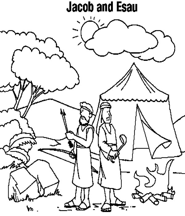 Jacob And Esau Camping Coloring Page Netart