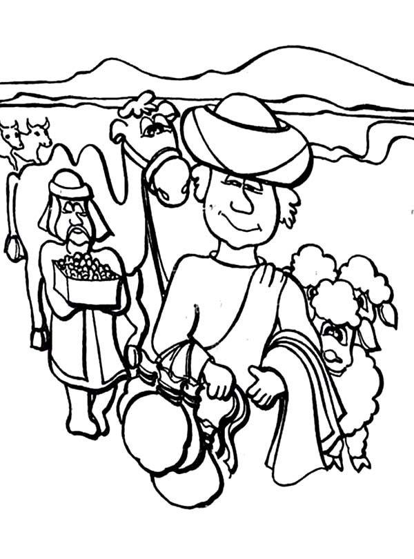 Jacob and Esau Meet Again in in Jacob and Esau Coloring Page