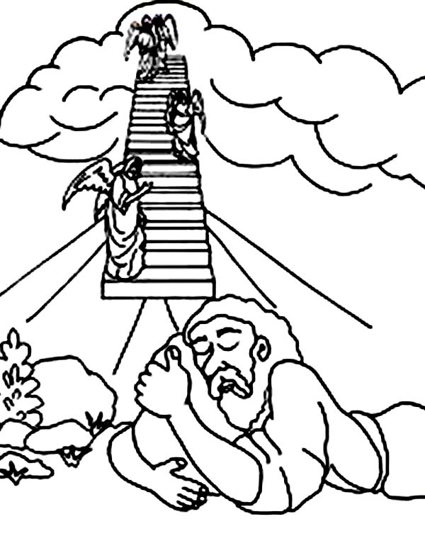 jacobs ladder and three angels in jacob and esau coloring page