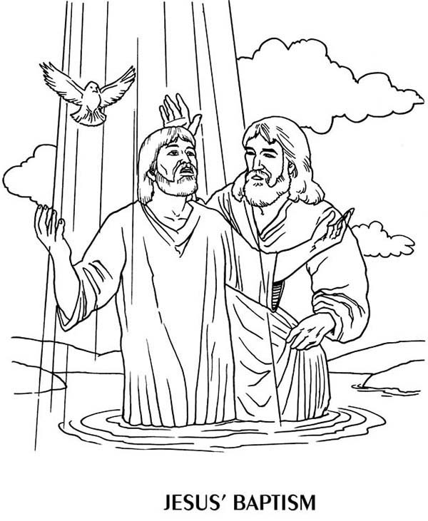 Jesus Baptism by John the Baptist Coloring Page - NetArt