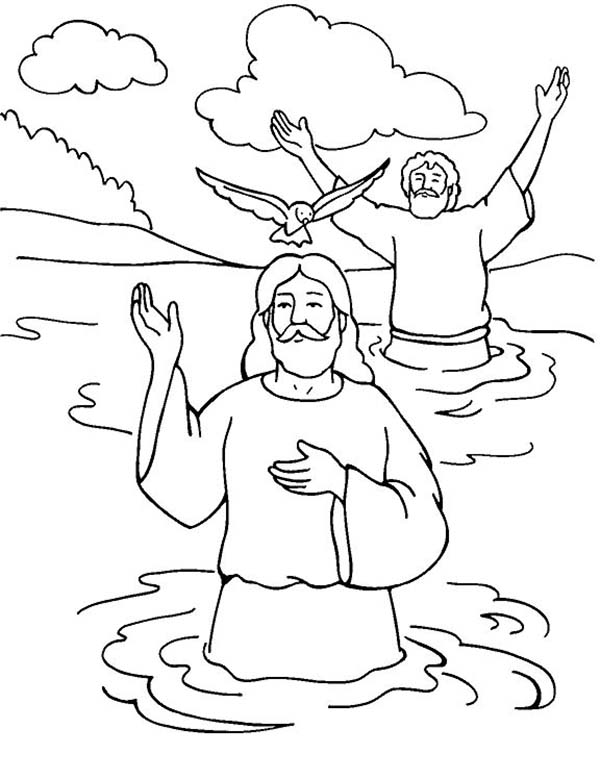 Jesus Baptism with Holy Spirit in John the Baptist Coloring Page ...