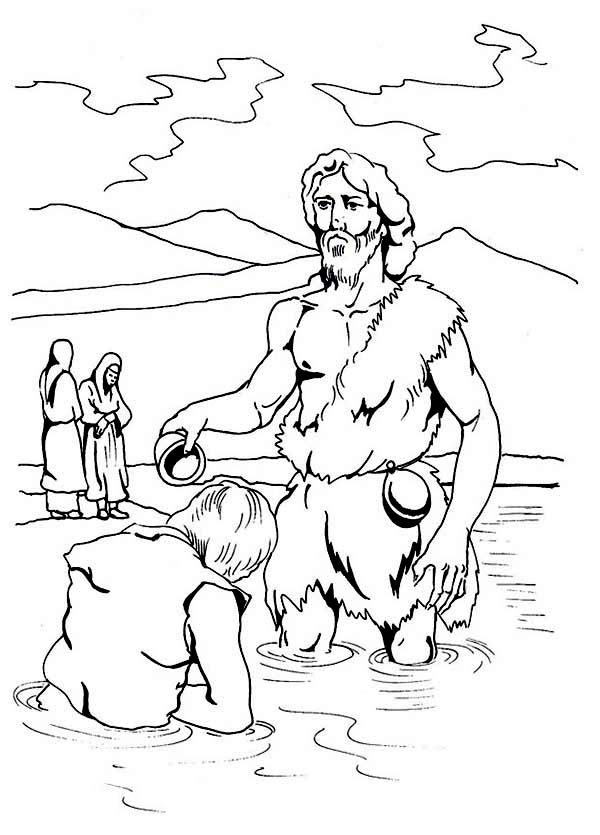 Jesus Being Baptism by John the