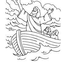 Jesus Calms The Sea In Miracles Of Coloring Page