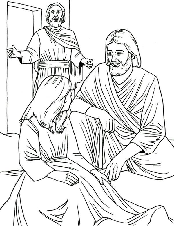 Jesus Heals Jairus Daughter in Miracles of Jesus Coloring Page - NetArt