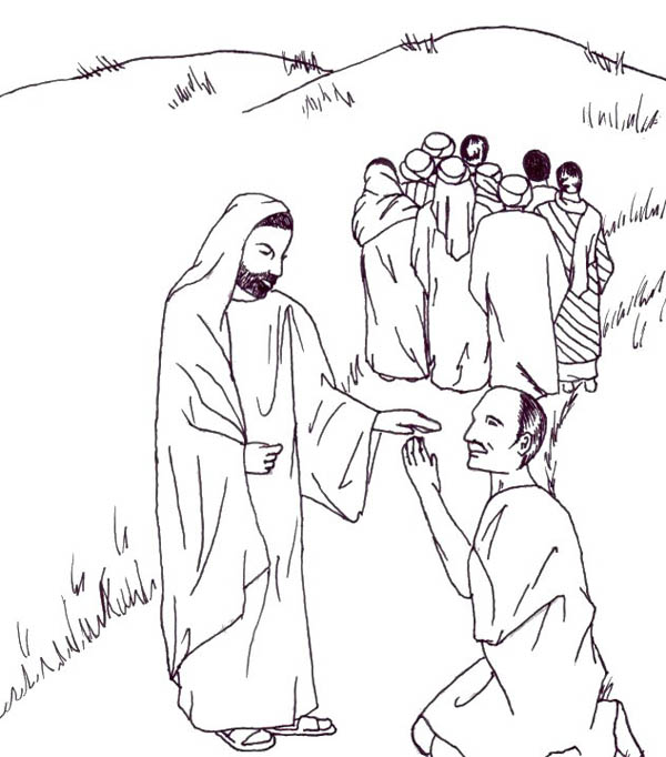 Jesus Heals the Lepers in Miracles of Jesus Coloring Page - NetArt