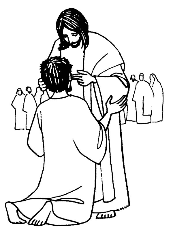 Jesus Heals the Sick is Miracles of Jesus Coloring Page  NetArt