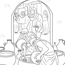jesus turns water into wine coloring page - miracles of jesus netart