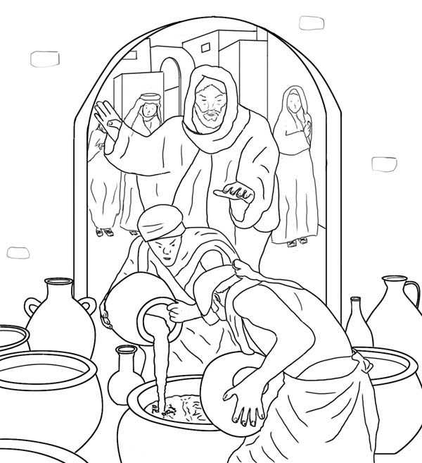 Jesus Make Wine From Water In Miracles Of Coloring Page