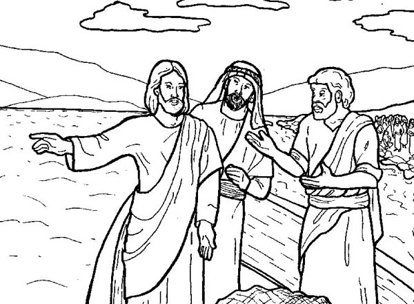 jesus tells disciple to fish in miracles of jesus coloring page