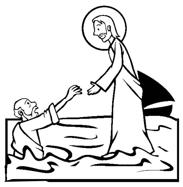 Jesus Walking on the Water is Miracles of Jesus Coloring Page - NetArt