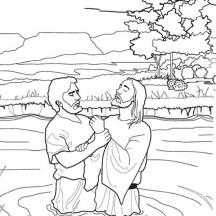 John Baptist Jesus in the  River in John the Baptist Coloring Page
